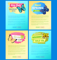 sale spring discount labels set pages butterflies vector image