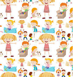 Seamless background design with kids playing vector image vector image