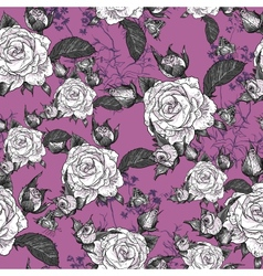 seamless background with roses and butterflies vector image