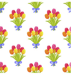 Seamless pattern with beautiful bouquet of tulips vector