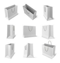 set isolated paper bag for shop or store vector image