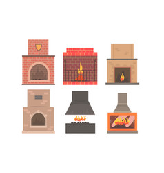 set of different kinds of fireplaces flat vector image