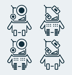 set of robots icons in linear style vector image