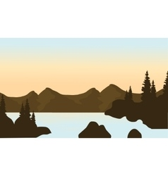 Silhouette of mounttain and river vector image