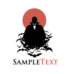 silhouette vampire on a cloud bats and red vector image