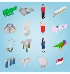 Singapore set icons isometric 3d style vector image