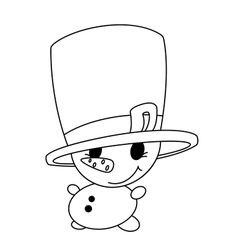 Small snowman outlined vector