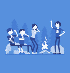 spooky story near campfire fun vector image