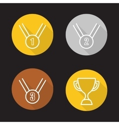 Sport competition rewards flat linear icons set vector image