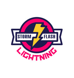Storm flash lightning logo badge with lightning vector
