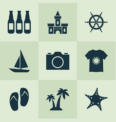 summer icons set with beer palms starfish and vector image