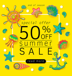 Summer sale banner with objects of marine life vector