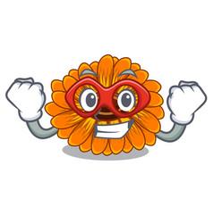 Super hero calendula flowers in a cartoon basket vector