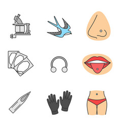 Tattoo studio color icons set vector