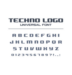 technology bold font geometric typography style vector image