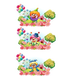 Three scenes of clown smiling in the garden vector image