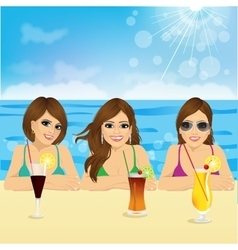 three young women on the beach vector image