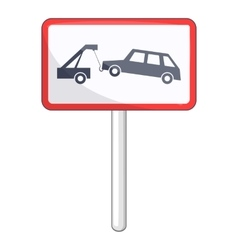 Tow away no parking sign icon cartoon style vector