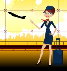 travel guide in airport vector image