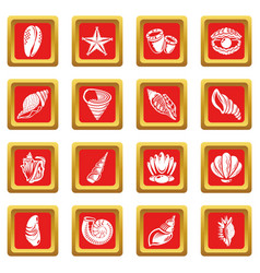 tropical sea shell icons set red square vector image