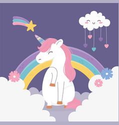 Unicorn shooting star cloud hearts rainbow clouds vector