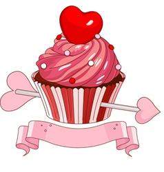 Valentine cupcake vector image