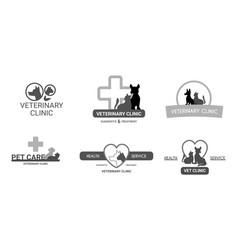 veterinary clinic logo set vector image