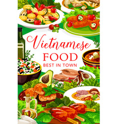 Vietnamese fish and meat with veggies vector