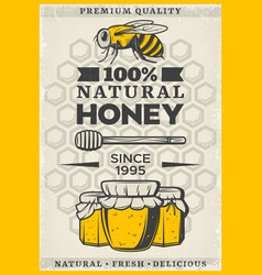 Vintage colored organic honey poster vector