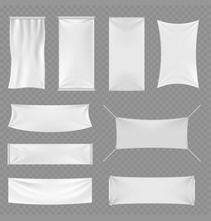 White blank textile advertising banners with folds vector