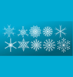 white snowflakes on blue gradient background vector image