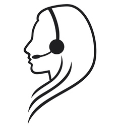 Women headset symbol vector