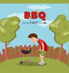 Young man cooking barbecue on the backyard bbq vector