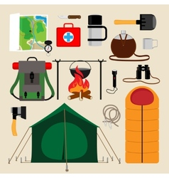 Camping equipment icons vector image vector image