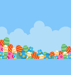 easter egg and cloud backgrounds vector image