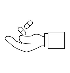 hand with capsules medicine isolated icon vector image