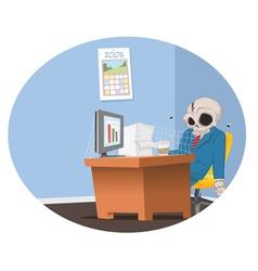 office employee skeleton vector image vector image