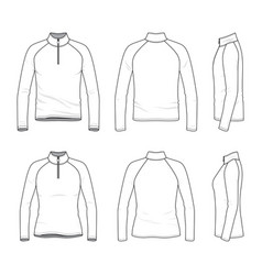 set of raglan sleeved t-shirt with zipper vector image