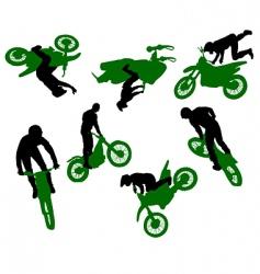 silhouette of stunt man vector image