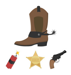 Star sheriff colt dynamite cowboy boot wild vector