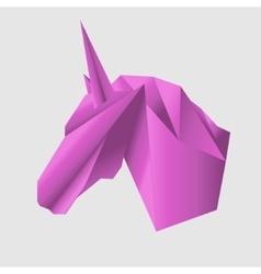 Unicorn head in Origami Style icon vector image