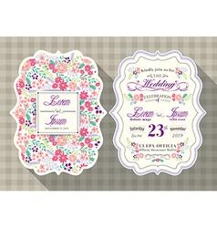 vintage flower wedding invitation card vector image vector image
