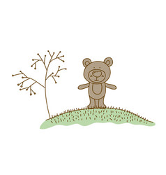 Watercolor hand drawn silhouette of bear in hill vector