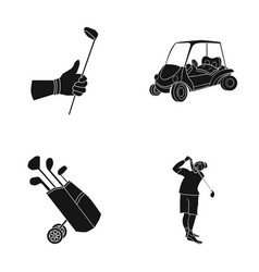 a gloved hand with a stick a golf cart a trolley vector image
