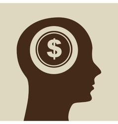 blue silhouette head money dollar icon design vector image vector image