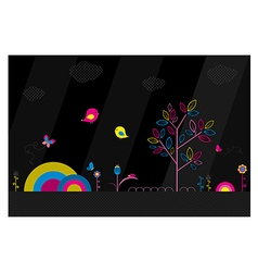 Fantasy park on black background vector image vector image