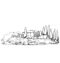 Hand drawn of house on hill vector image vector image