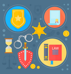 law and justice design concept with justice icons vector image