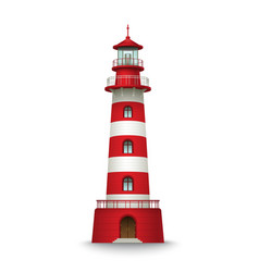 Realistic red lighthouse building isolated on vector image