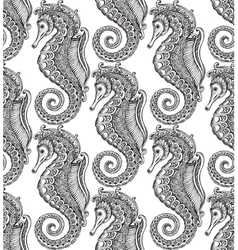 Seamless pattern with hand drawn seahorses vector image vector image
